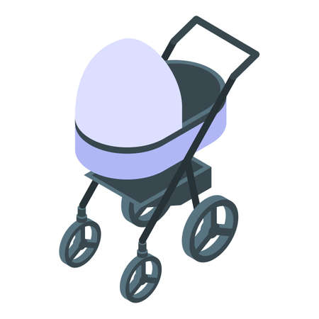 Textile baby pram icon, isometric style Stock fotó