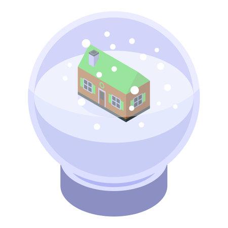 Snowglobe house icon, isometric style