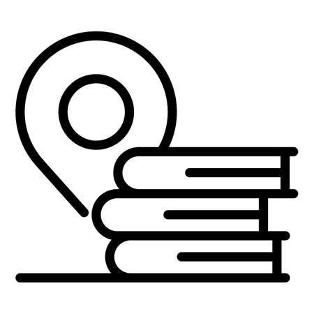 Gps pin book stack icon, outline style