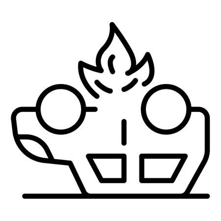 Car accident fire icon, outline style