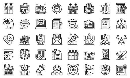 Personal guard icons set, outline style Zdjęcie Seryjne