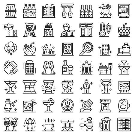 Bartender icons set, outline style