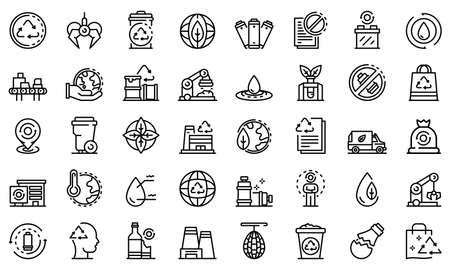 Recycle factory icons set, outline style