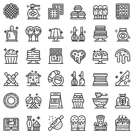 Confectioner icons set, outline style