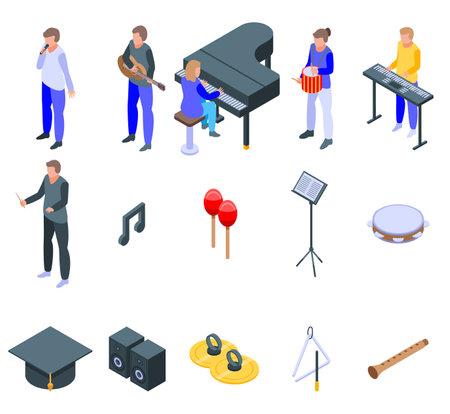 Music school icons set, isometric style