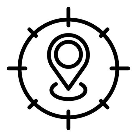 Target map pin icon, outline style