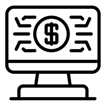 Web banking icon, outline style