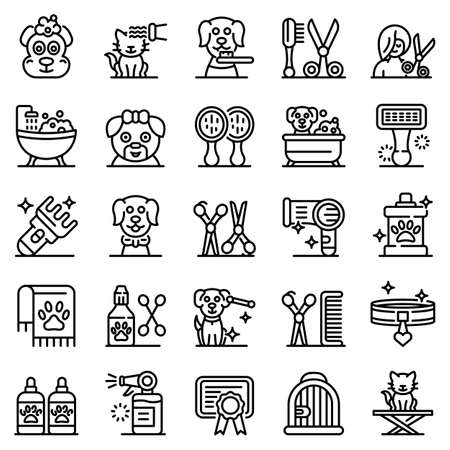 Groomer icons set, outline style