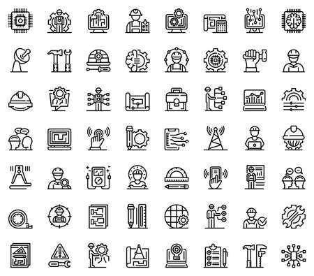 Communications engineer icons set, outline style Stock Photo