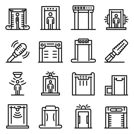 Metal detector icons set, outline style