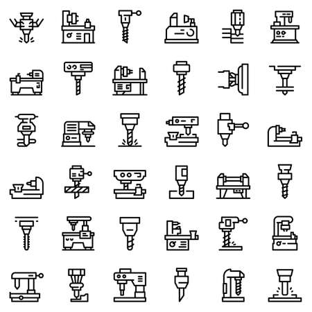 Milling machine icons set, outline style Stock Photo