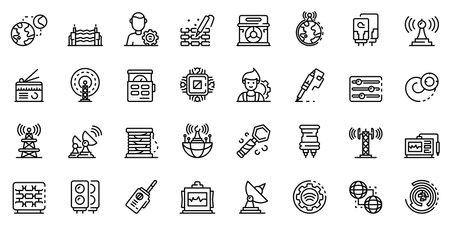 Radio engineer icons set, outline style