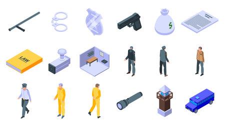 Prison icons set, isometric style