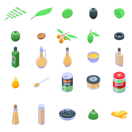 Olive icons set, isometric style 스톡 콘텐츠