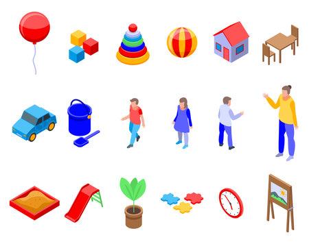 Kindergarten icons set, isometric style