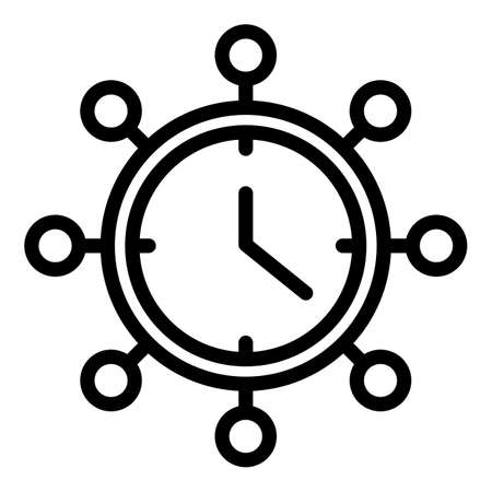 Retro wall clock icon, outline style
