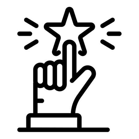 Star at the end of the finger icon, outline style