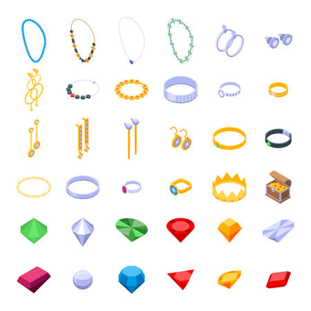 Jeweler icons set, isometric style