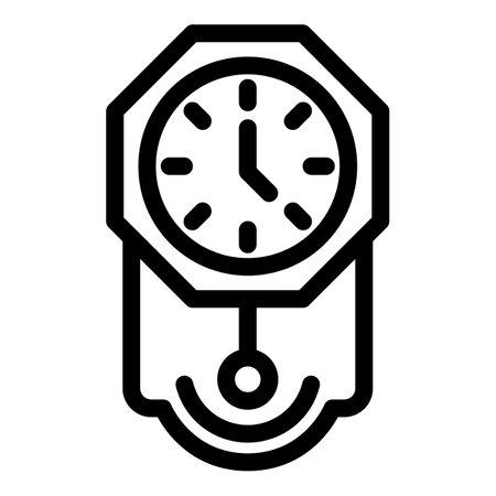 Pendulum clock icon, outline style