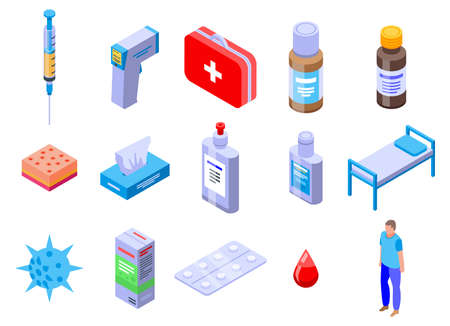 Chicken pox icons set, isometric style