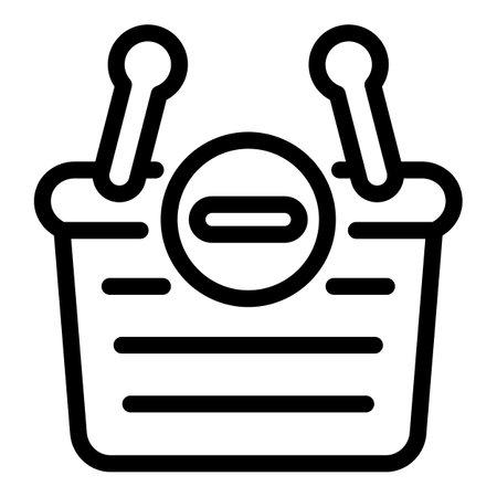 Restriction shop basket icon, outline style