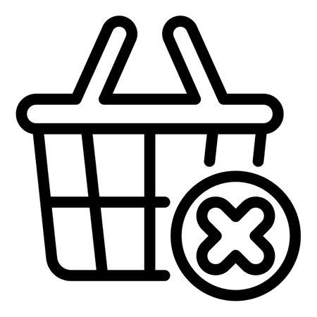 Shop basket restriction icon, outline style