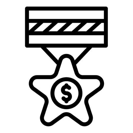 Money trade war medal icon, outline style
