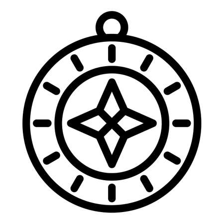 Tourist compass icon, outline style