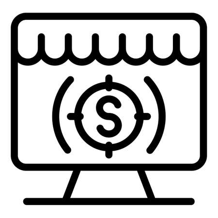 Dollar target on screen icon, outline style
