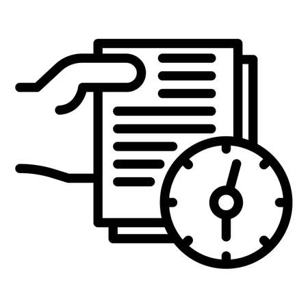 Documents and clock icon, outline style