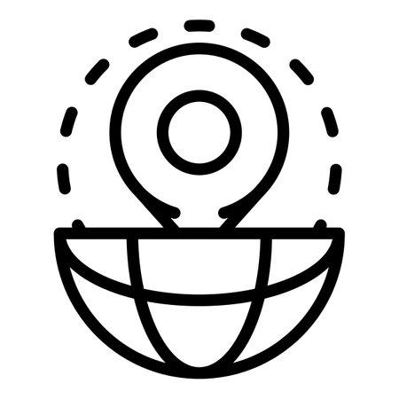 Globe mark icon, outline style