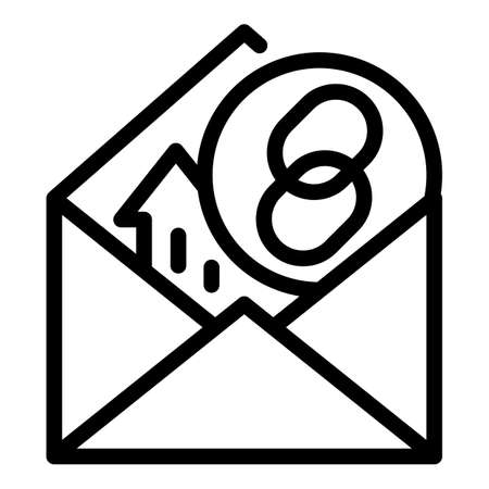 Hyperlink mark in the envelope icon, outline style