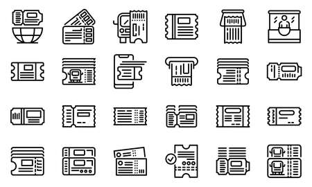 Bus ticketing icons set. Outline set of bus ticketing icons for web design isolated on white background