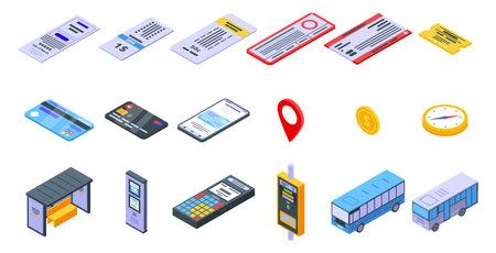Bus ticketing icons set, isometric style