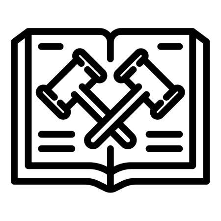 Judge gavel book icon, outline style