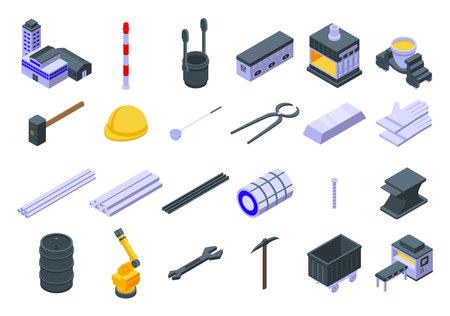 Metallurgy icons set, isometric style