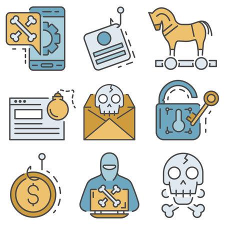 Phishing icon set, outline style
