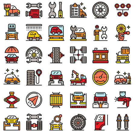 Tire fitting icons set, outline style