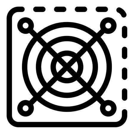 Round grids plastic cover icon, outline style