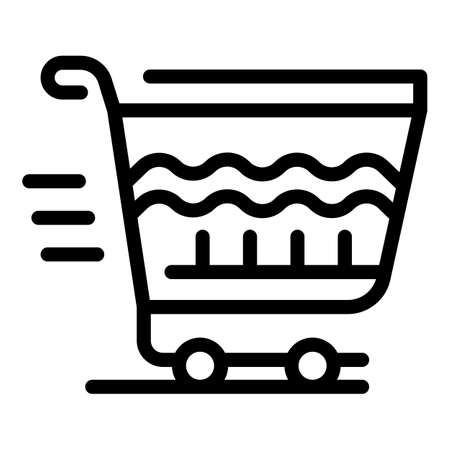 Shopping trolley icon, outline style