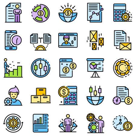 Estimator icons set line color Stock Photo