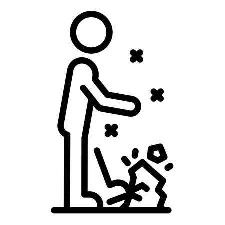 Person stumbles icon, outline style