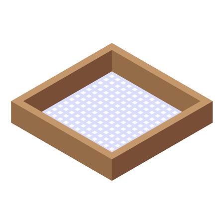 Wood frame sieve icon, isometric style