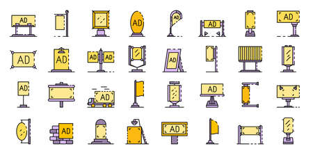 Outdoor advertising icons set flat Imagens
