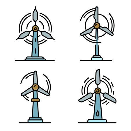 Wind turbine icons set flat Reklamní fotografie
