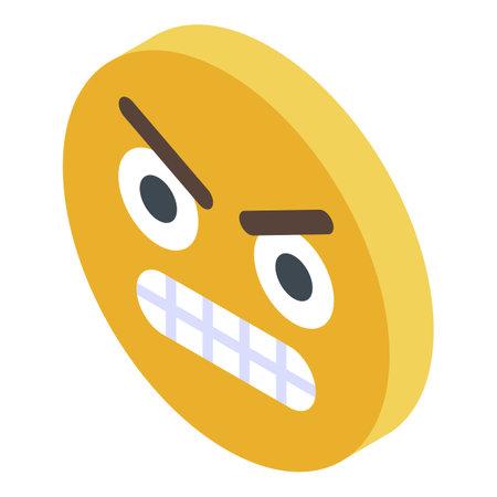 Yellow emoji rage icon, isometric style