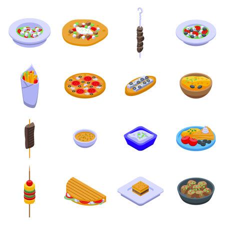 Greece food icons set, isometric style