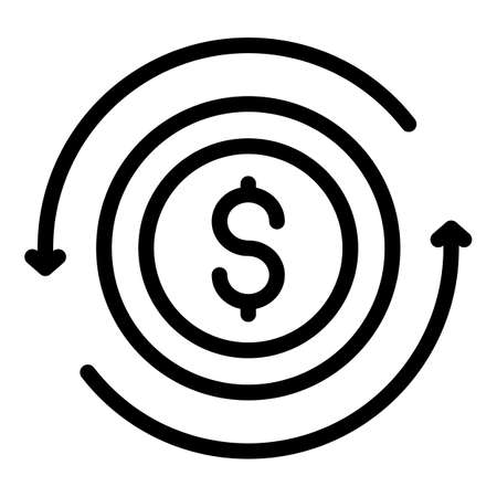 Money coins converter icon, outline style