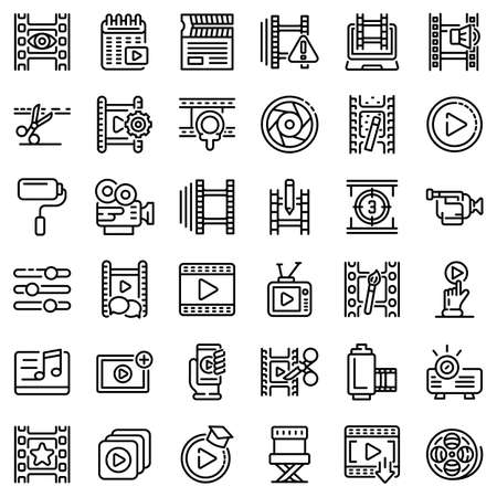 Video editing icons set, outline style