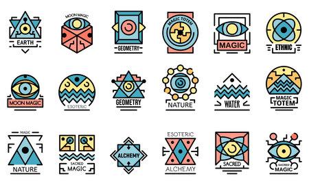 Geometric alchemy icons flat